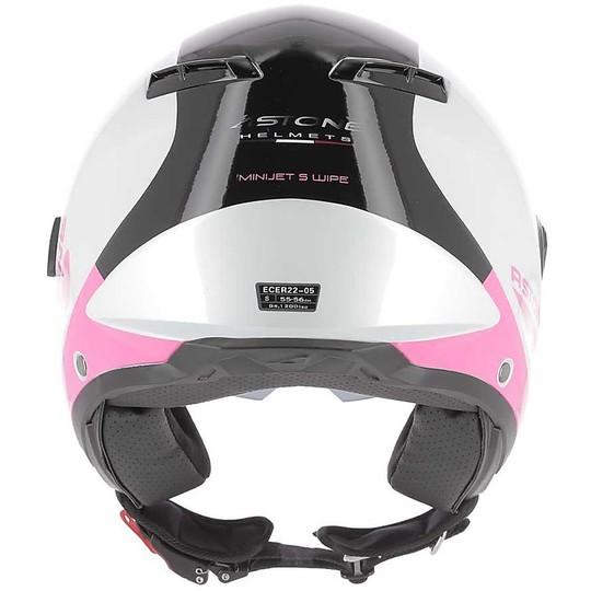 Casque de moto double visière Demi-Jet Astone MINIJET S Wipe White Pink