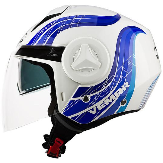 Casque de moto double visière Jet Vemar JY09 BREEZE Blanc Bleu