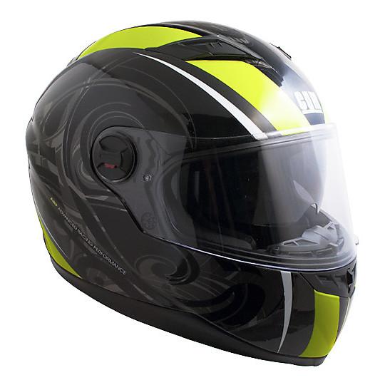 Casque de moto intégral double visière CGM Los Angeles noir jaune fluo