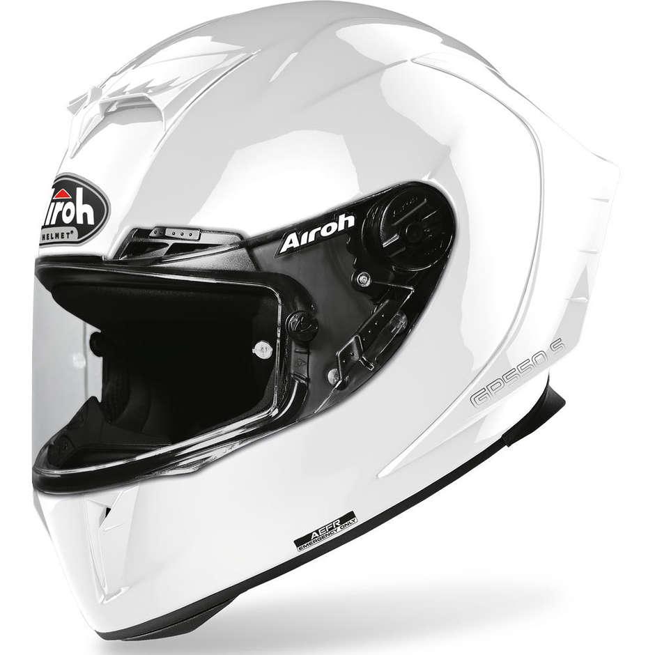 Casque de moto intégral en fibre Airoh GP550 S couleur blanc brillant