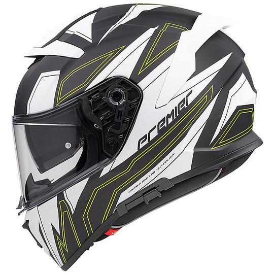 Casque de moto intégral en fibre Premier DEVIL EL Y BM blanc noir vert mat