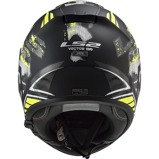 Casque de moto intégral en HPFC LS2 FF397 VECTOR EVO Pochoir Noir Mat Fluo Jaune