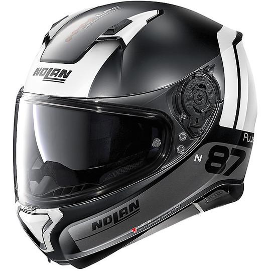 Casque de moto intégral Nolan N87 PLUS DISTINCTIVE N-Com 023 Matt Black White