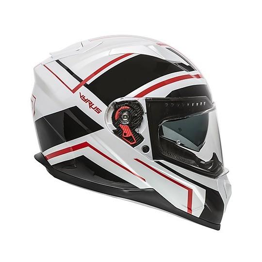 Casque de moto intégral Premier VYRUS ND2 blanc noir rouge