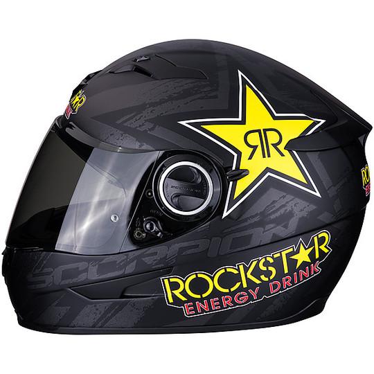 Casque de moto intégral Scorpion EXO 490 ROCKSTAR noir mat jaune rouge