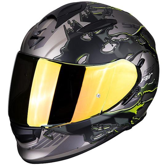Casque de moto intégral Scorpion EXO 510 Air LIKID Titanium Yellow Fluo