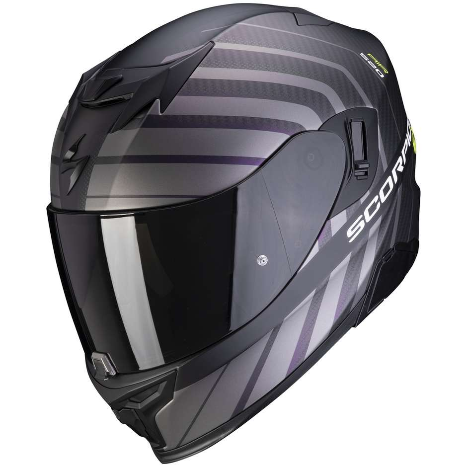 Casque de moto intégral Scorpion EXO-520 AIR SHADE noir mat jaune fluo