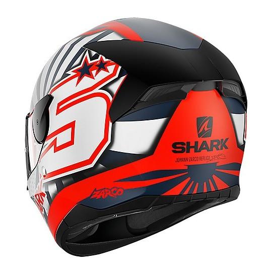Casque de moto intégral Shark D-SKWAL 2 Replica Zarco Mat Orange Matt White
