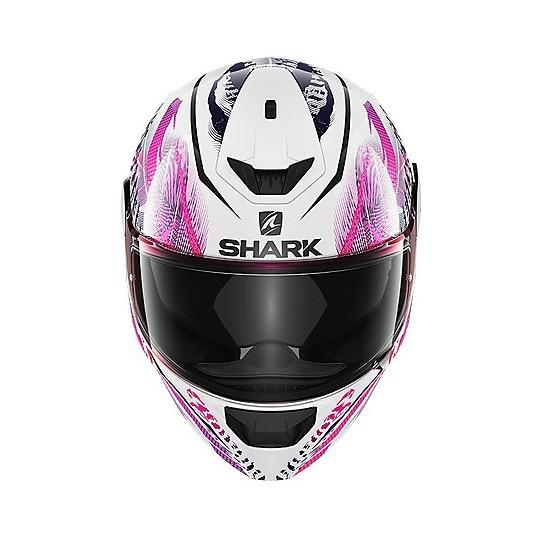 Casque de moto intégral Shark D-SKWAL 2 Shigan blanc rose noir
