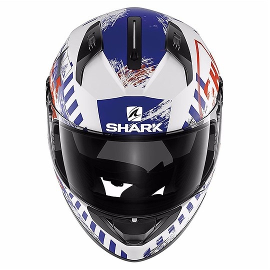 Casque de moto intégral Shark RIDILL SKYD Blanc Bleu Rouge