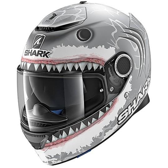 Casque de moto intégral Shark SPARTAN LORENZO WHT Shark Silver Anthracite Matt