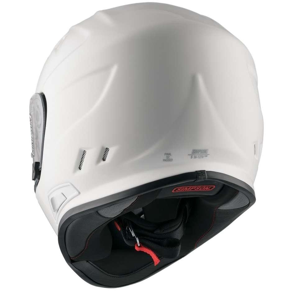 Casque de moto intégral Simpson Venom double visière blanche brillante solide
