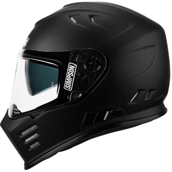 Casque de moto intégral Simpson Venom double visière noire brillante solide