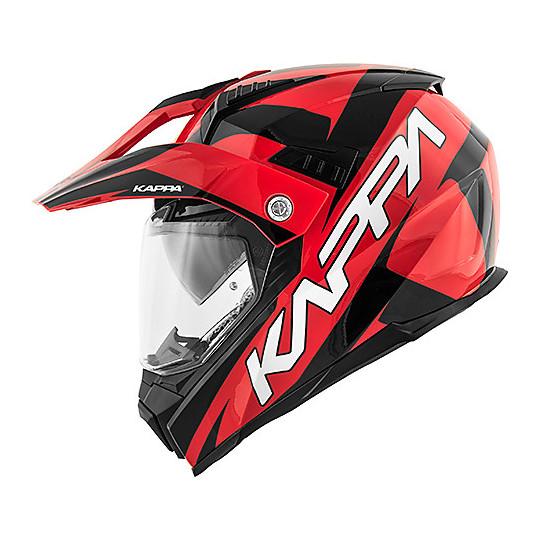 Casque de moto intégral Touring Kappa KV30 Enduro Flash Rouge Noir