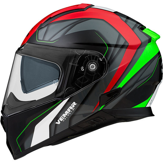 Casque de moto intégral Vemar ZEPHIR JMC Z001 blanc rouge vert