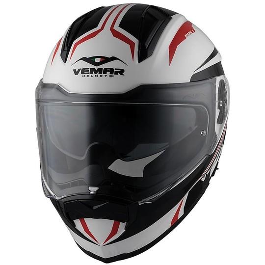 Casque de moto intégral Vemar ZEPHIR JMC Z017 blanc rouge