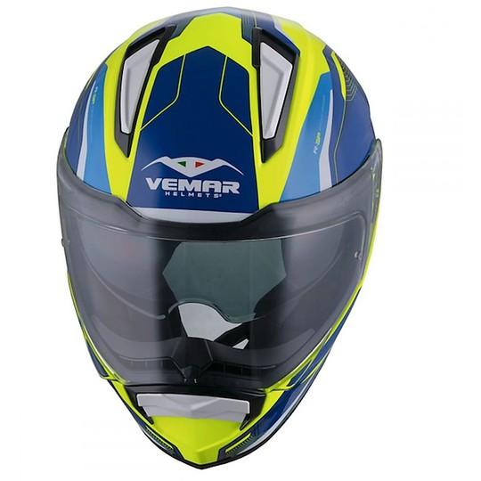 Casque de moto intégral Vemar ZEPHIR JMC Z024 Lunar Yellow Deep Blue