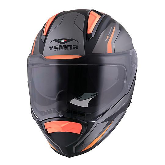 Casque de moto intégral Vemar ZEPHIR JMC Z027 Lunar Orange Grey