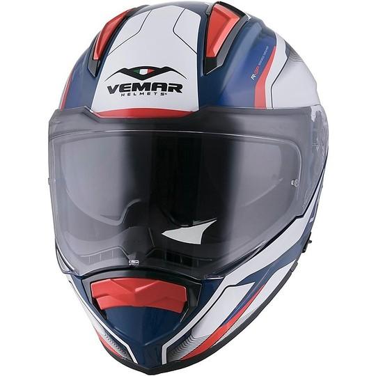 Casque de moto intégral Vemar ZEPHIR Lunar Z023 blanc bleu