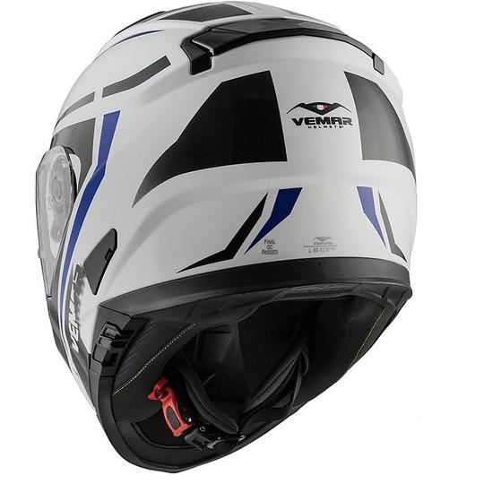 Casque de moto intégral Vemar ZEPHIR Mark Z019 blanc bleu