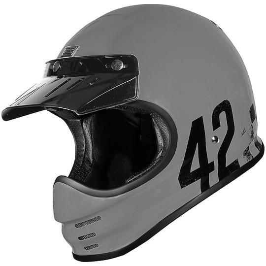 Casque de moto intégral vintage des années 70 d'origine VIRGO DANNY gris brillant