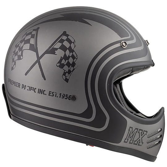 Casque de moto intégral Vintage Premier MX BTR17 BM gris mat
