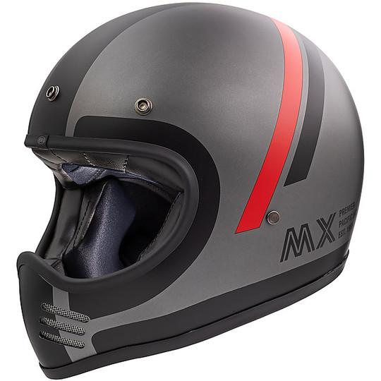Casque de moto intégral Vintage Premier MX DO17 BM Gris mat