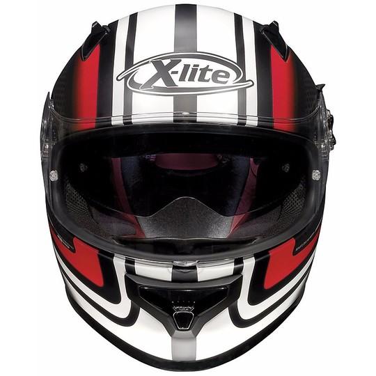 Casque de moto intégral X-Lite X-661 SlipStream N-Com 35 noir mat blanc rouge