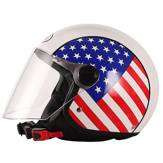 Casque de moto Jer avec longue visière BHR 710 USA Flag coloration