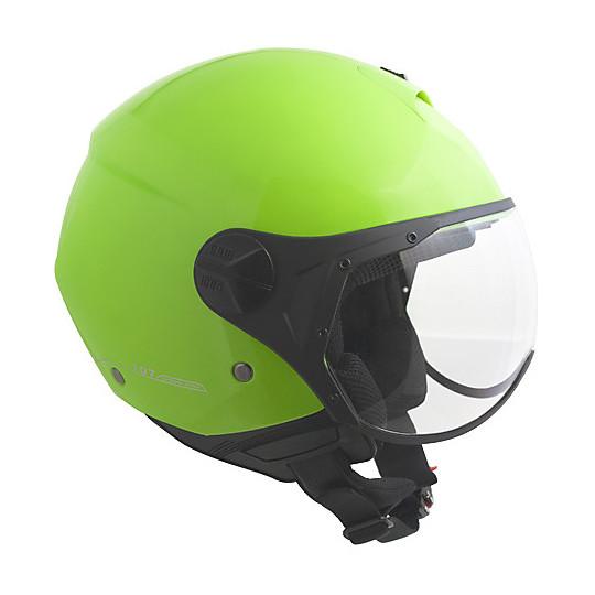 Casque de moto Jet avec visière CGM Florence en métal vert