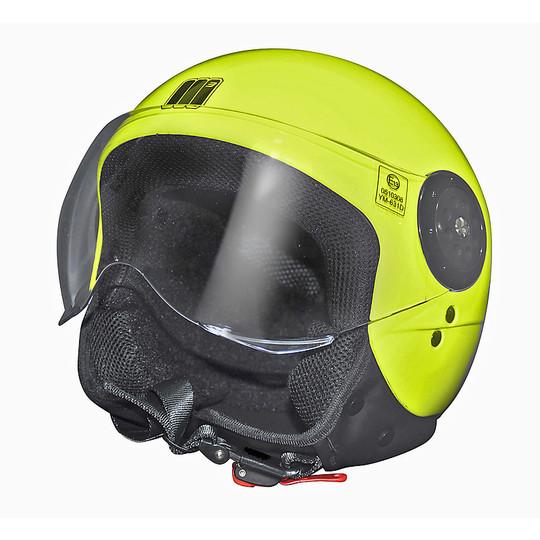 Casque de moto jet avec visière Jeko Fluo Yellow Humed