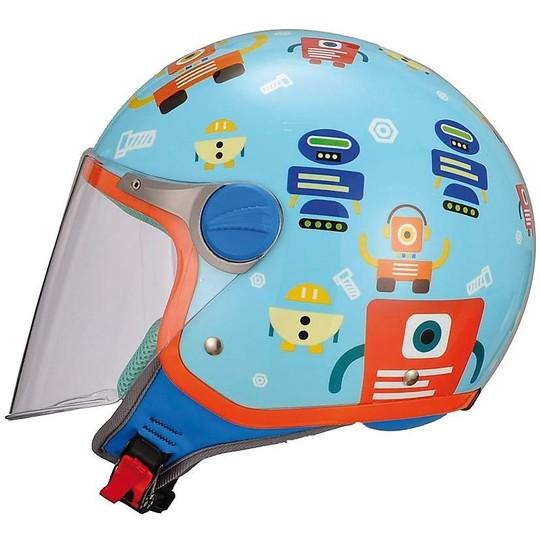 Casque de moto Jet BHR enfant avec visière longue ROBOT coloration