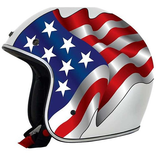 Casque de moto Jet Custom AFX FX-76 Flags Freedom White