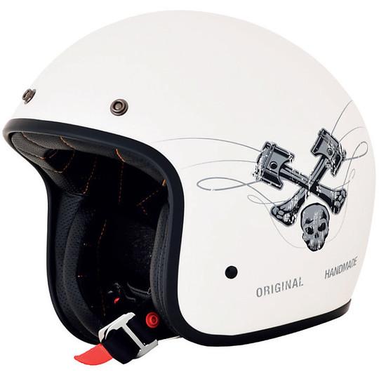 Casque de moto Jet Custom AFX FX-76 Raceway Matt White Grey