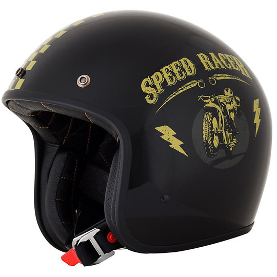 Casque de moto Jet Custom AFX FX-76 Speed Racer Glossy Black Gold