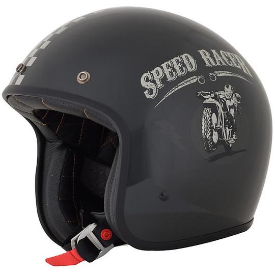 Casque de moto Jet Custom AFX FX-76 Speed Racer Glossy Black Silver