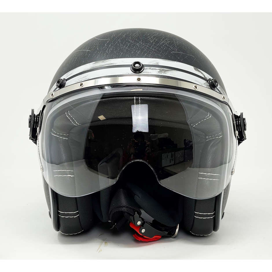 Casque de moto Jet Custom Airoh Garage Raw Matt avec des lunettes