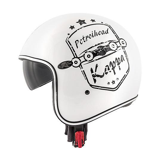 Casque de moto jet de fibre personnalisé Vintage Kappa KV-29 PHILADELPHIA Petrolhead blanc
