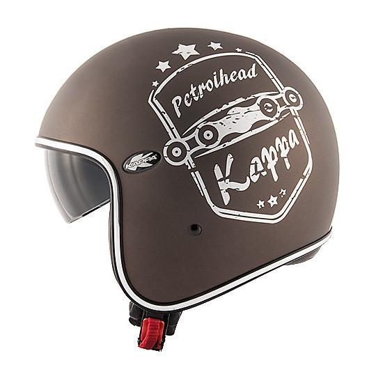 Casque de moto jet de fibre personnalisé Vintage Kappa KV-29 PHILADELPHIA Petrolhead Tobacco