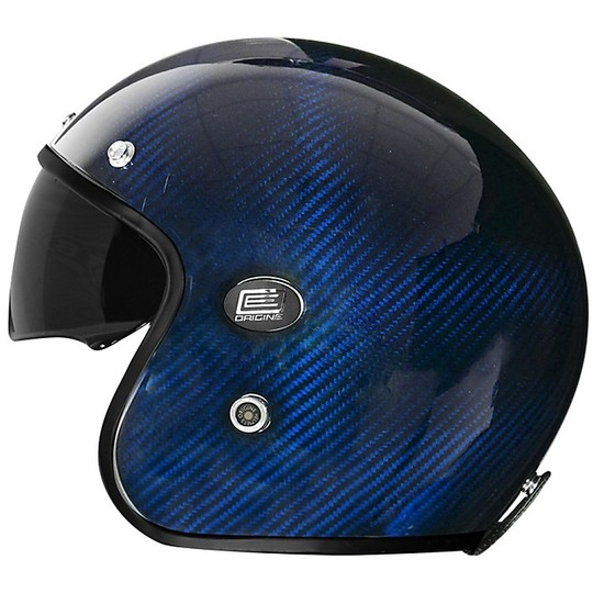 Casque de moto Jet en fibre Sirio Origin Full Carbon Blue