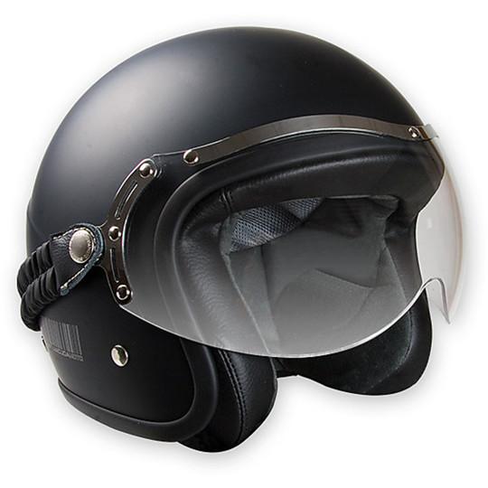 Casque de moto Jet fibre personnalisée BARRACUDA blanc brillant classique avec visière élastique