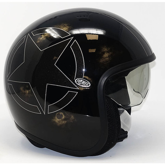 Casque de moto Jet Fibre Premier Vintage Star Carbon brillant avec décalque