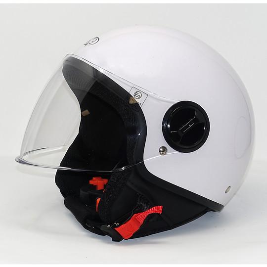 Casque de moto Jet One avec visière relevable blanc brillant