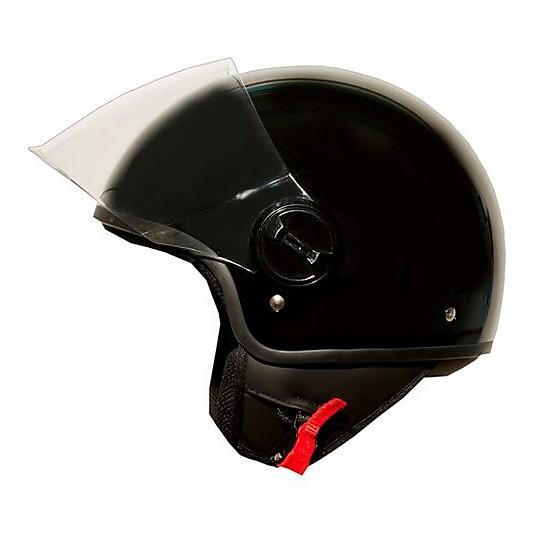 Casque de moto Jet One avec visière relevable noire brillante