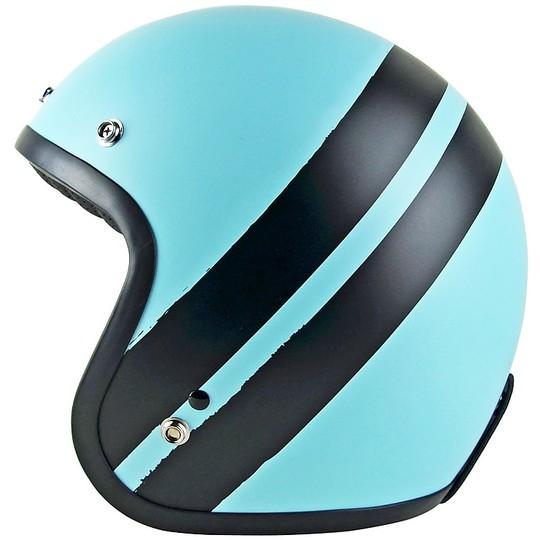 Casque de moto Jet personnalisé PRIMO JACK Bleu pastel Noir mat
