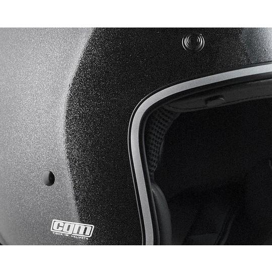 Casque de moto Jet personnalisé vintage en fibre CGM 170 Y DIAMANT noir brillant