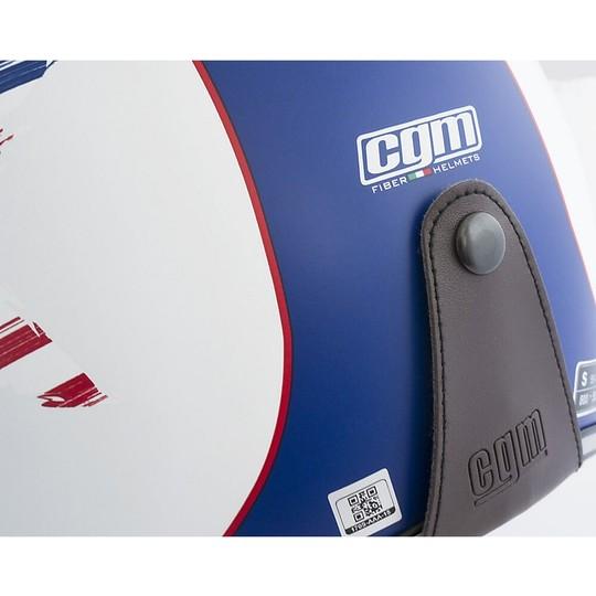Casque de moto Jet personnalisé vintage en fibre opaque CGM 170 DISCOVERY blanc
