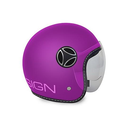 Casque de moto Jet pour enfant Momo Design JET-BABY mat violet autocollant rose