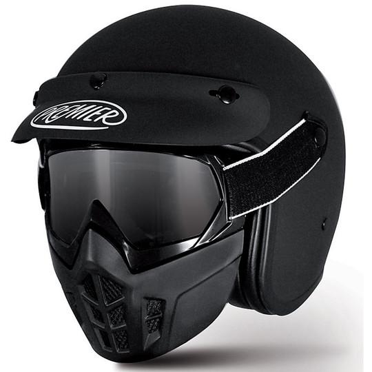 Casque de moto Jet Premier vintage en fibre de masque noir mat
