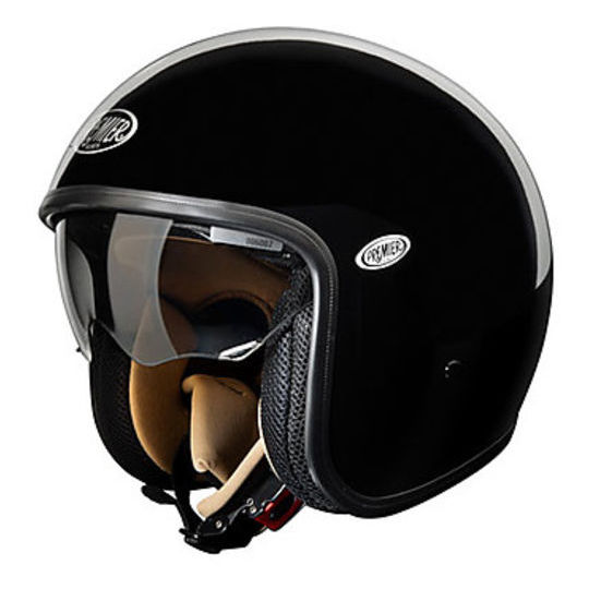 Casque de moto Jet Premier Vintage Fibre avec visière intégrée noir brillant